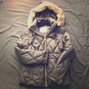 Faux Fur Quilted Puffer Jacket Warm Winter Coat